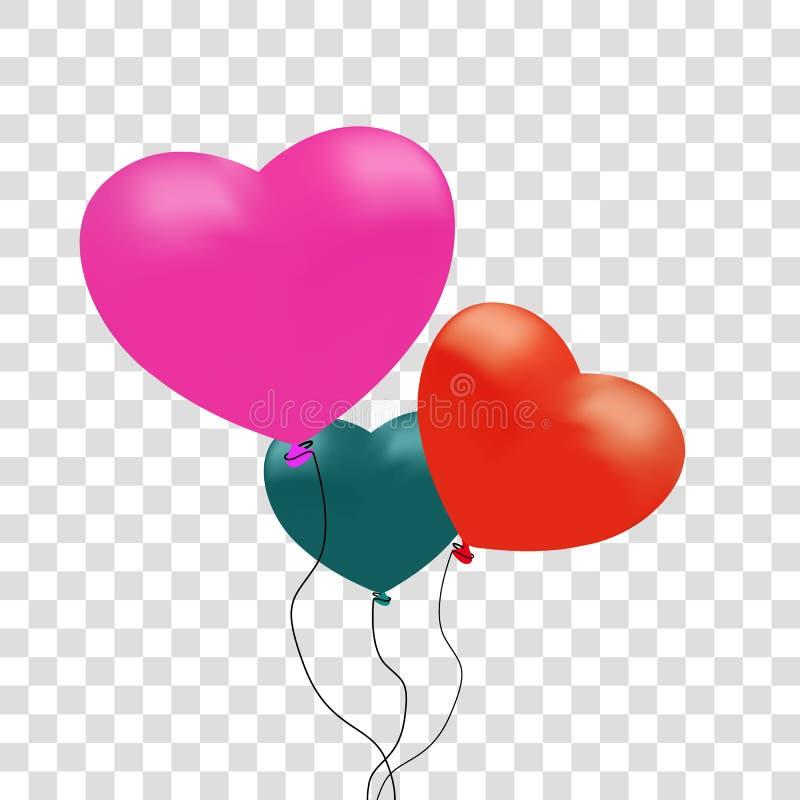 Ballons colorés réalistes de coeur Illustration de vecteur Rose rouge Fond transparent Carte de voeux illustration stock