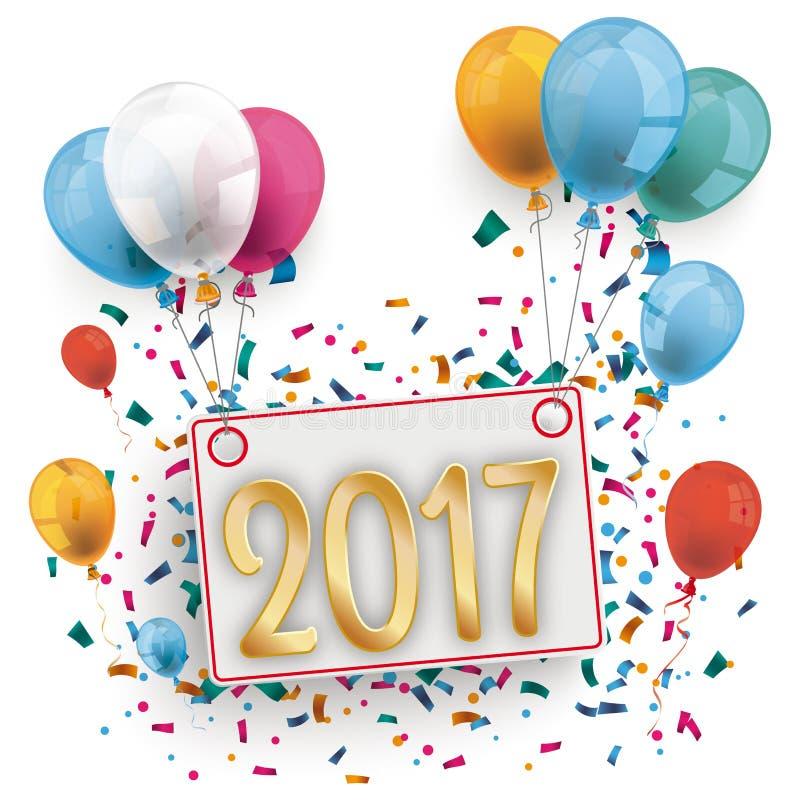 Ballons colorés Silvester du panneau 2017 illustration stock