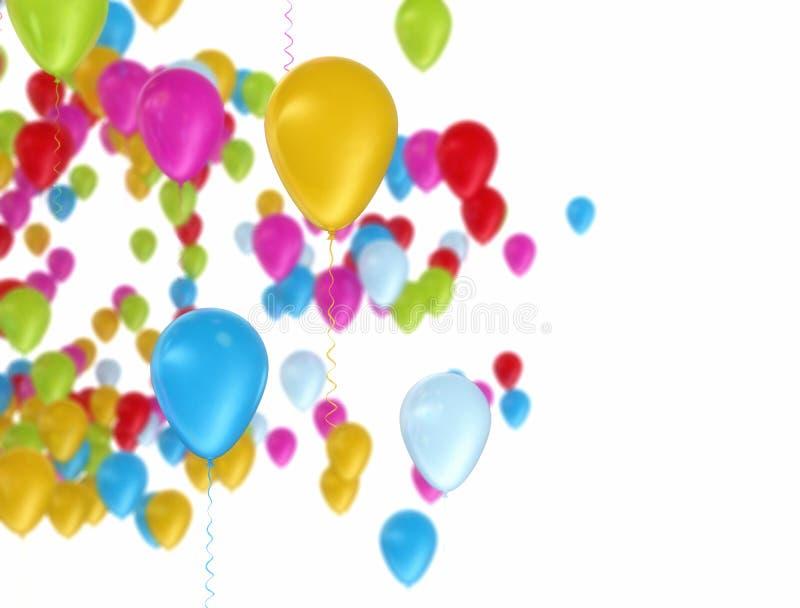 Ballons colorés volant au-dessus du fond blanc illustration libre de droits