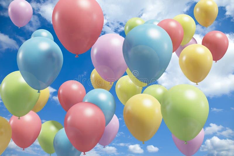 Ballons colorés volant dans le ciel illustration libre de droits