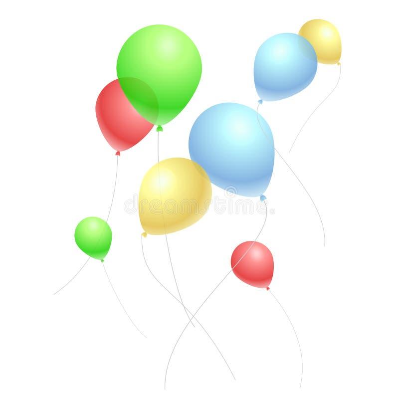 Ballons colorés volants sur le blanc illustration libre de droits