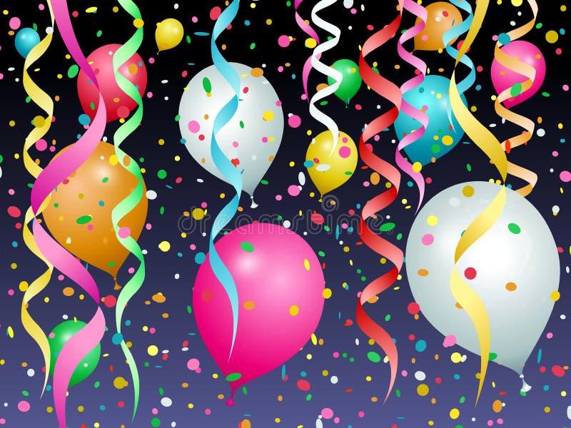 Ballons, confettis et flammes de diff?rentes couleurs illustration libre de droits