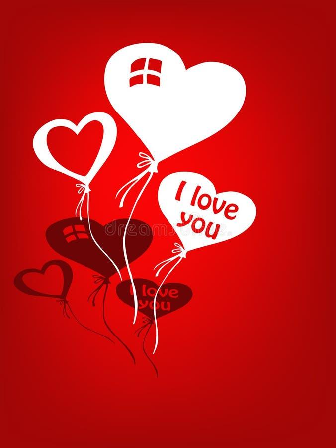 Ballons d'amour pour la valentine illustration stock