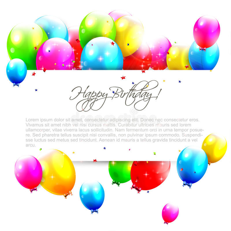 Ballons d'anniversaire sur le fond blanc illustration stock