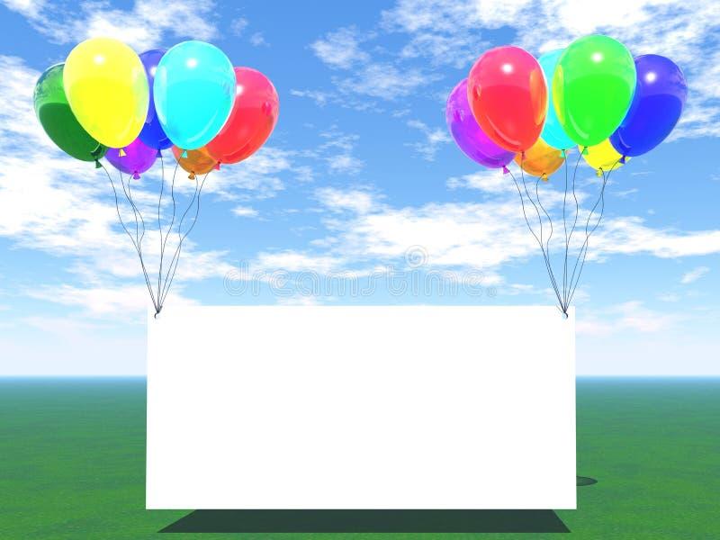 Ballons d'arc-en-ciel avec le blanc vide illustration stock