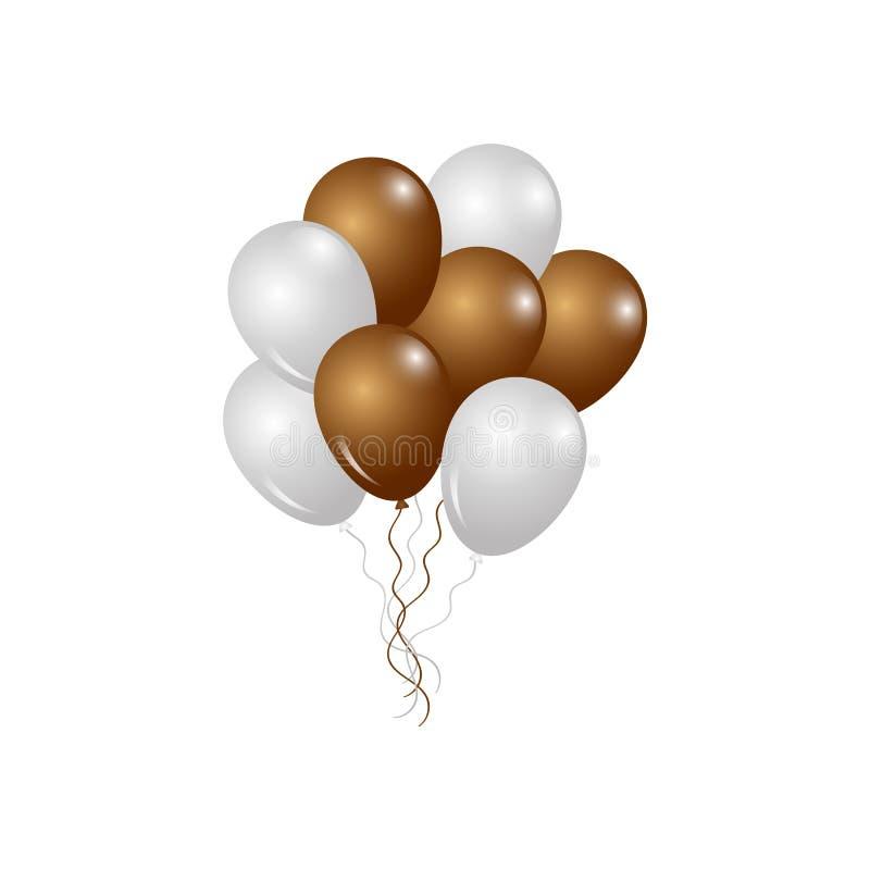 Ballons d'or et de blanc Décorations pour Fêtes et Fêtes illustration stock