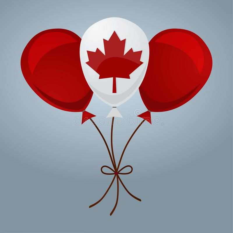 Ballons dans l'illustration d'isolement par couleurs canadiennes de drapeau illustration stock
