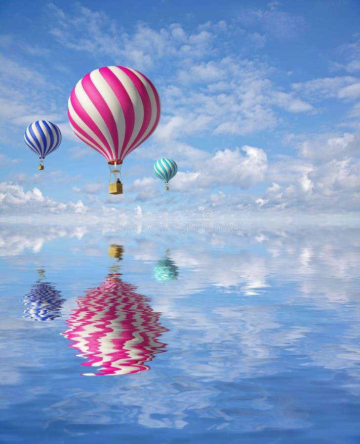 Ballons dans le ciel illustration de vecteur