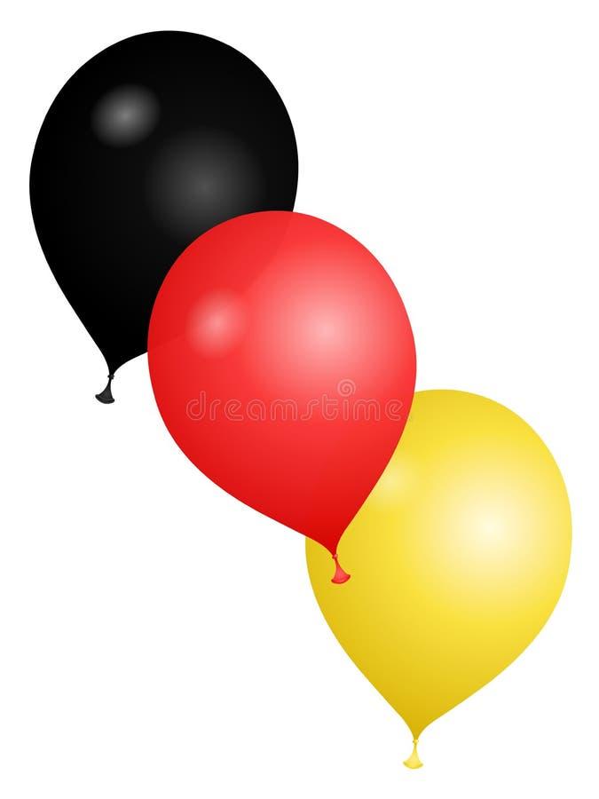 Ballons dans les couleurs de l'Allemagne sur un fond blanc illustration libre de droits
