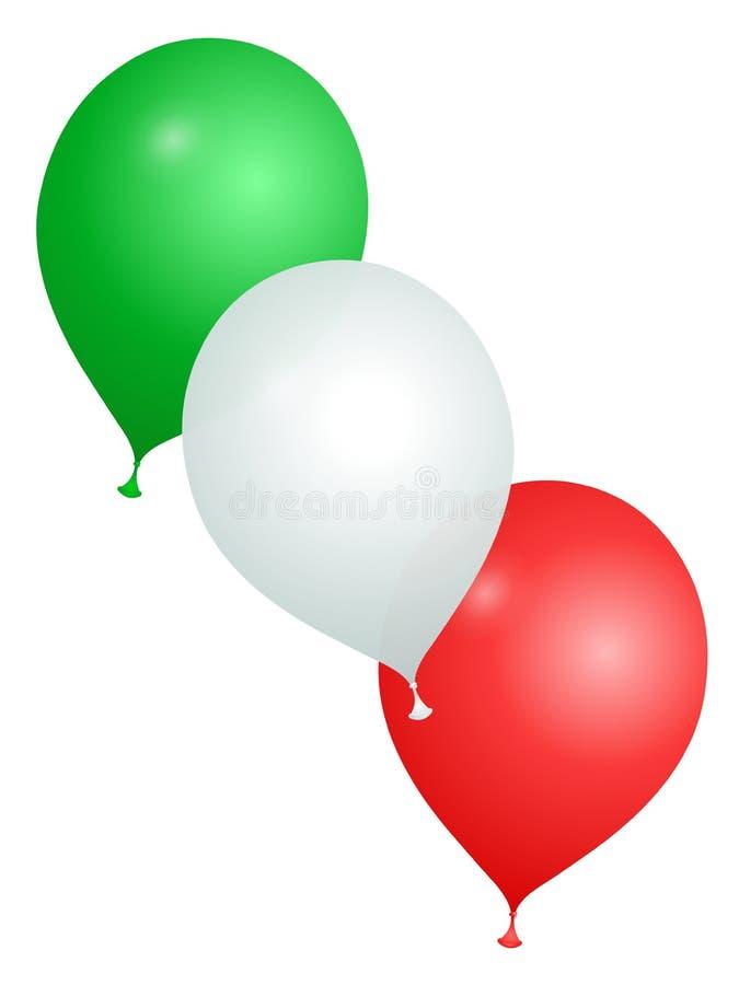 Ballons dans les couleurs de l'Italie sur un fond blanc illustration stock
