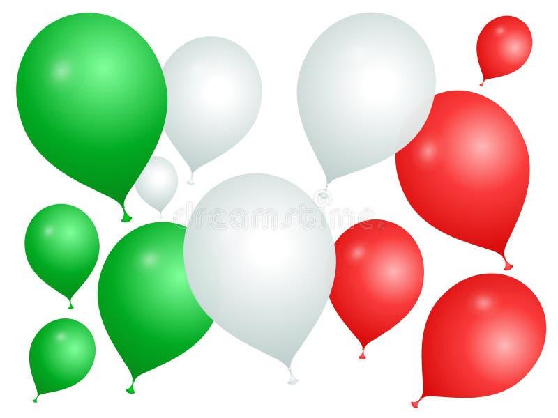 Ballons dans les couleurs de l'Italie sur un fond blanc illustration de vecteur