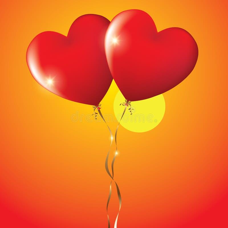 Ballons de coeur illustration de vecteur