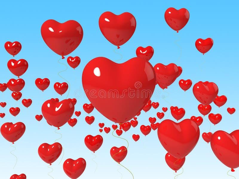 Ballons de coeur flottant la passion Romance moyenne illustration stock