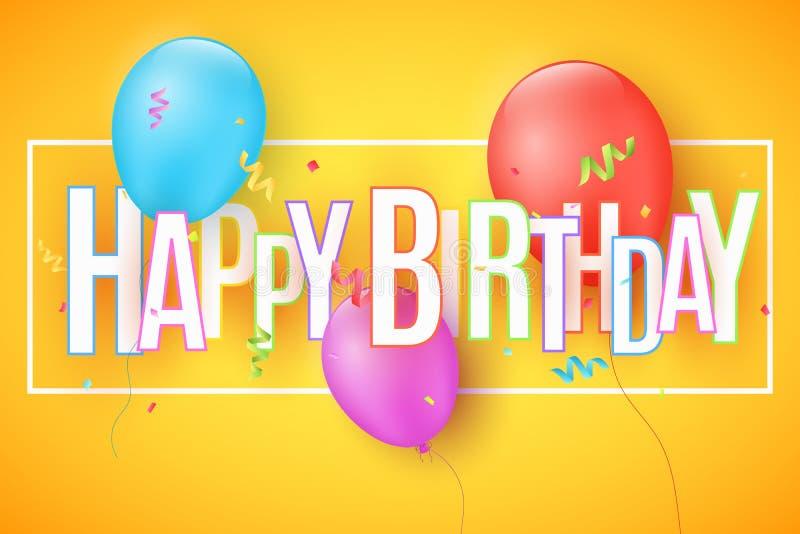 Ballons de fête sur un fond orange-clair L'inscription avec un joyeux anniversaire des lettres de papier Confettis colorés Greeti illustration stock