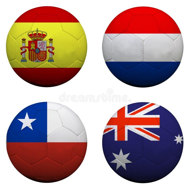 Ballons de football avec des équipes du groupe B illustration de vecteur