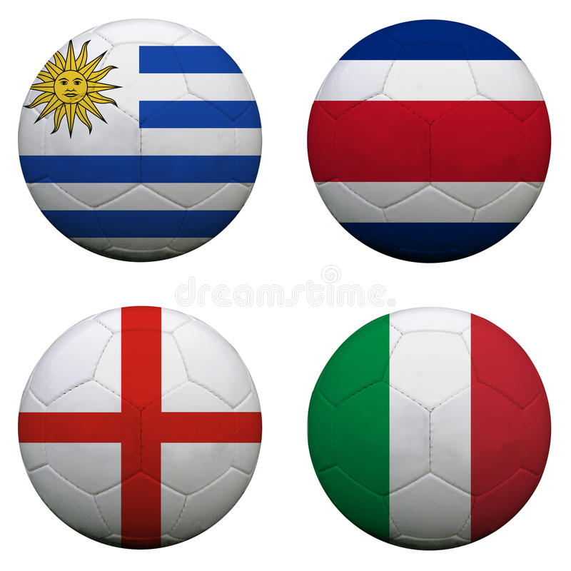 Ballons de football avec des équipes du groupe D illustration de vecteur