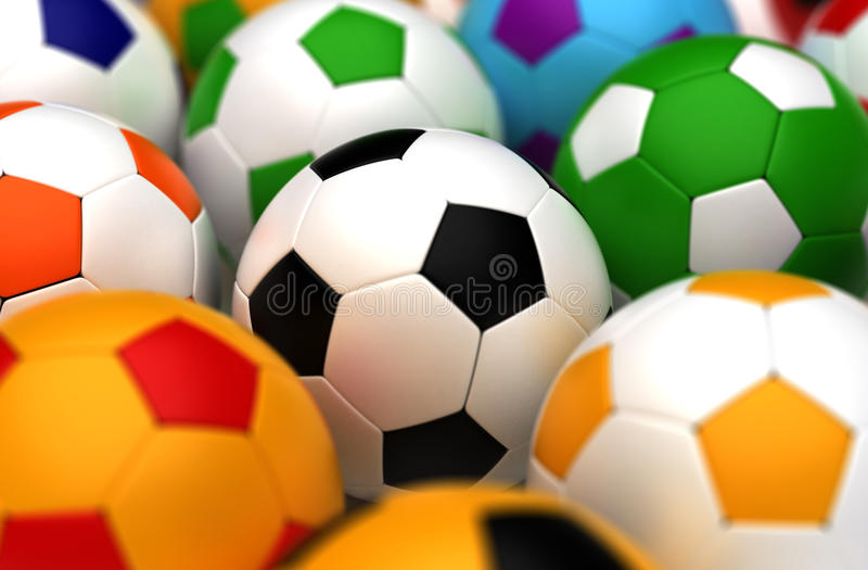 Ballons de football colorés illustration stock