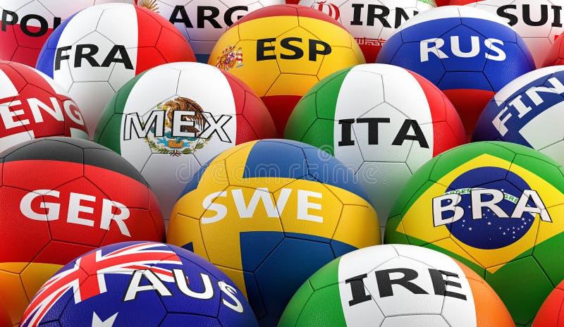 Ballons de football colorés dans différentes couleurs de drapeau national illustration stock