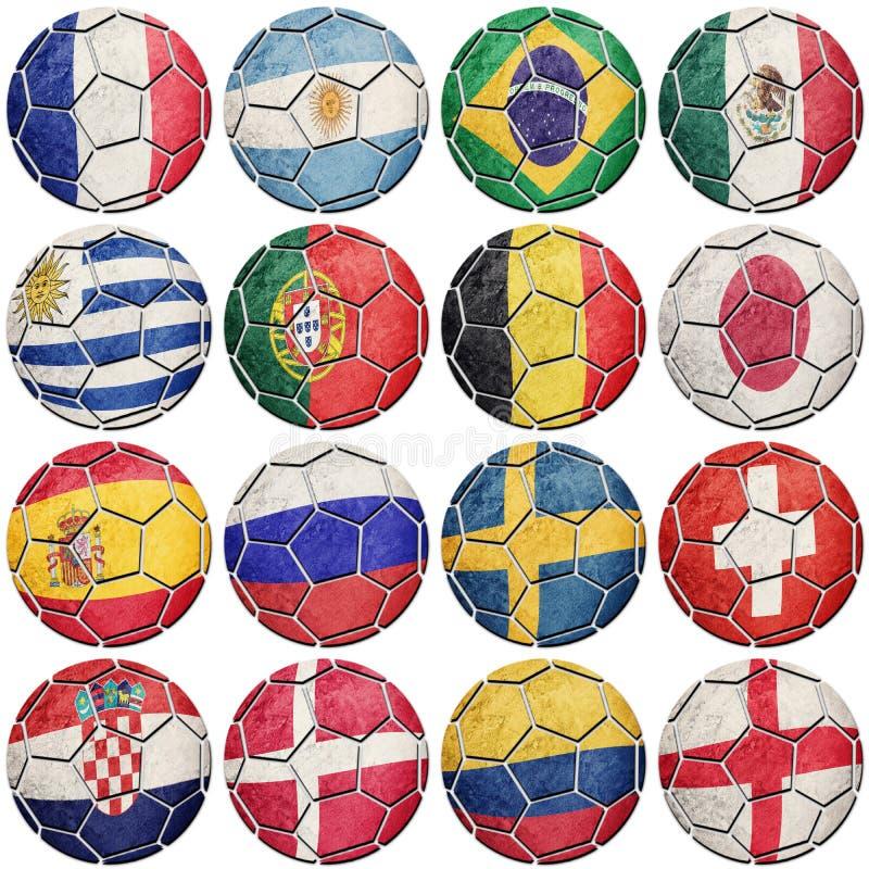 Ballons de football du football avec les drapeaux nationaux Coupe du monde 2018 illustration stock