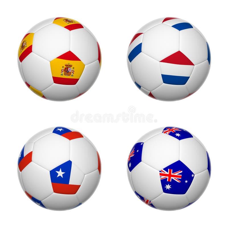 Ballons de football du Brésil 2014, groupe B illustration de vecteur
