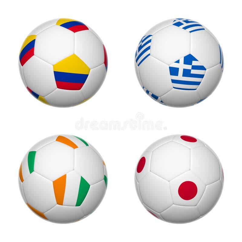 Ballons de football du Brésil 2014, groupe C illustration de vecteur
