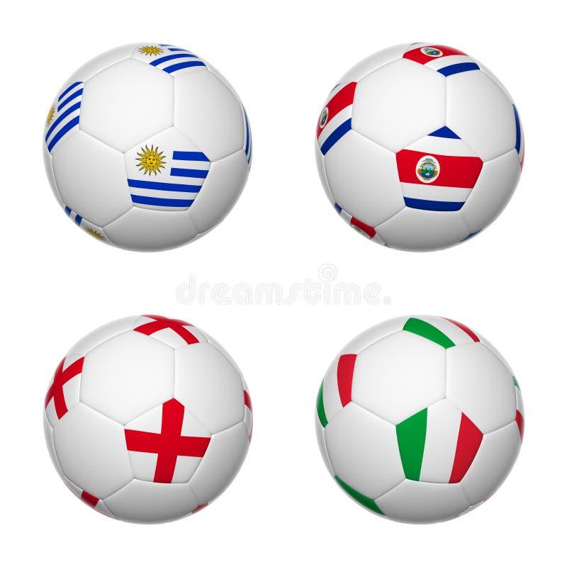 Ballons de football du Brésil 2014, groupe D illustration stock