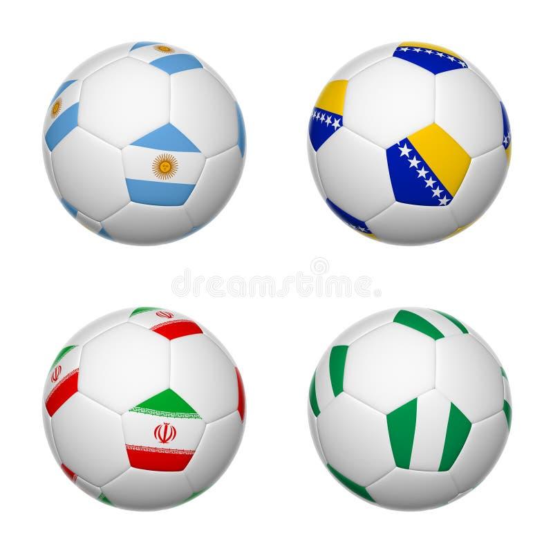 Ballons de football du Brésil 2014, groupe F illustration libre de droits