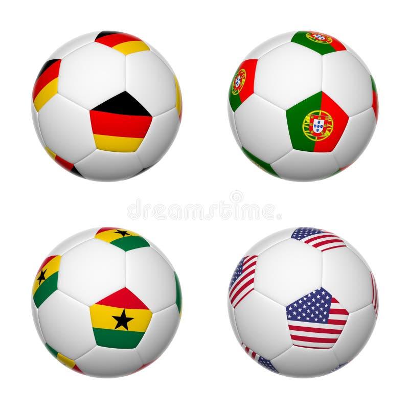 Ballons de football du Brésil 2014, groupe G illustration libre de droits