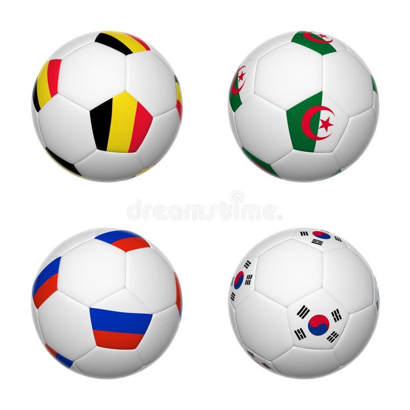 Ballons de football du Brésil 2014, groupe H illustration stock