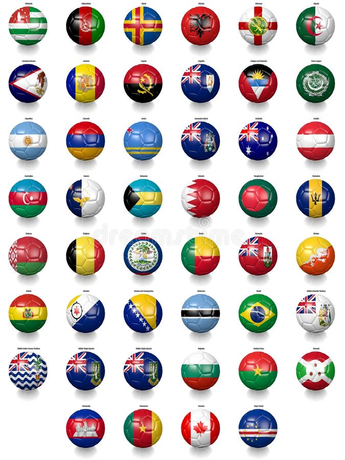 Ballons de football du football avec des textures de drapeau national illustration stock