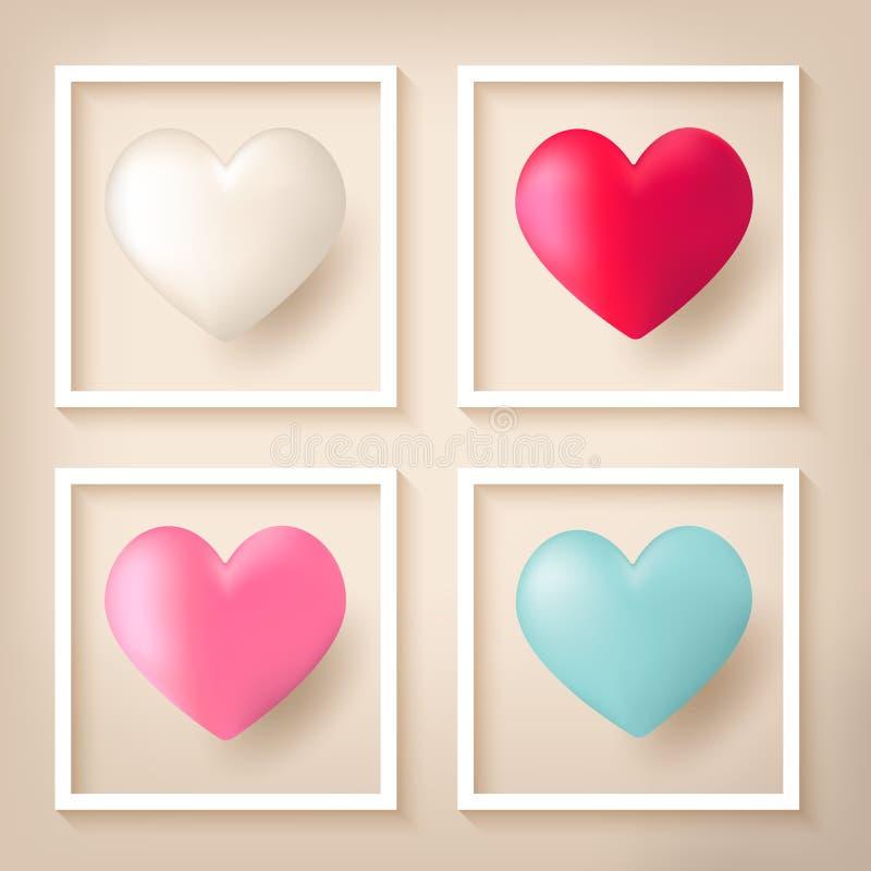 Ballons de forme de coeur avec des cadres illustration stock