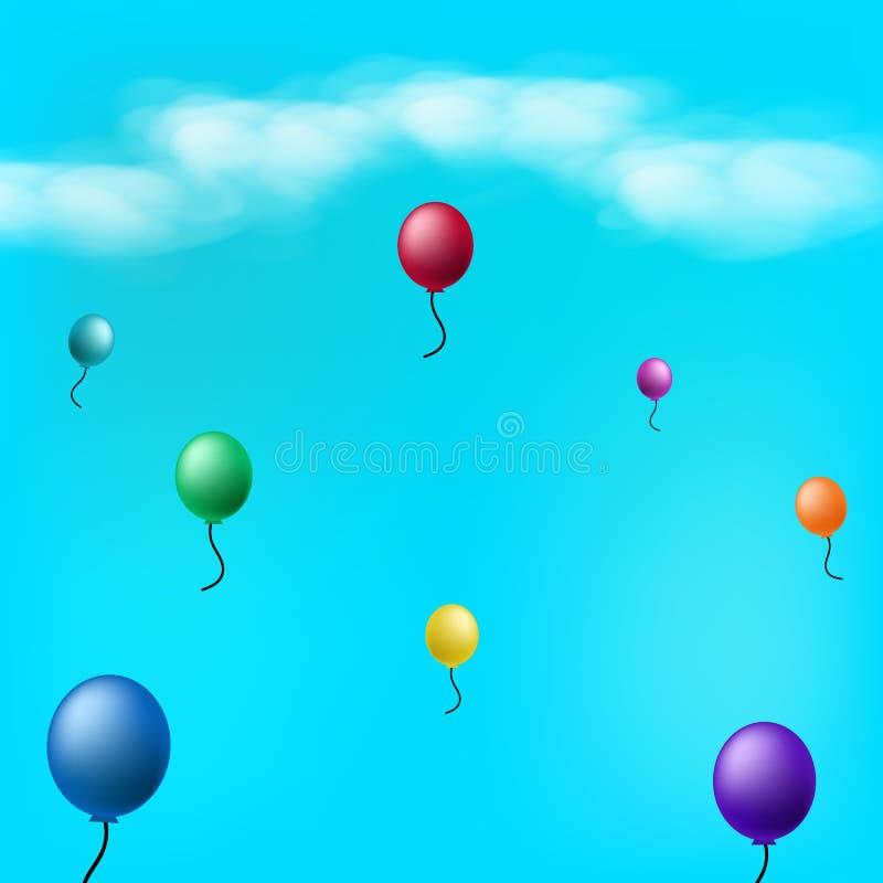 Ballons in de hemel met wolken abstracte vectorillus als achtergrond vector illustratie