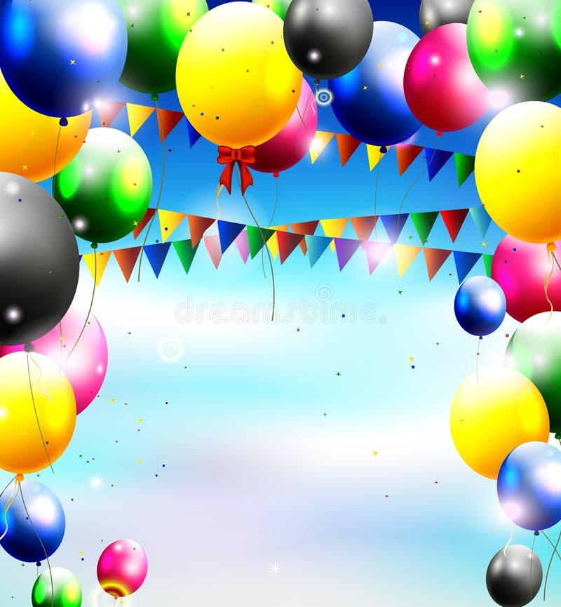 Ballons in de hemel voor verjaardagsachtergrond vector illustratie