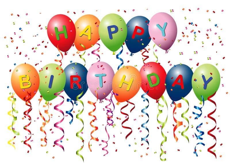 Ballons de joyeux anniversaire illustration de vecteur
