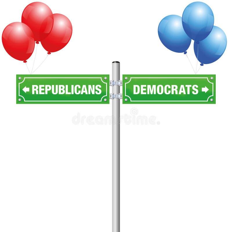 Ballons de plaque de rue de républicains de Démocrate illustration libre de droits