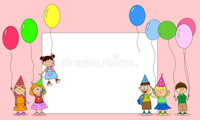 Ballons de prise d'enfants, vecteur de carte de voeux illustration stock