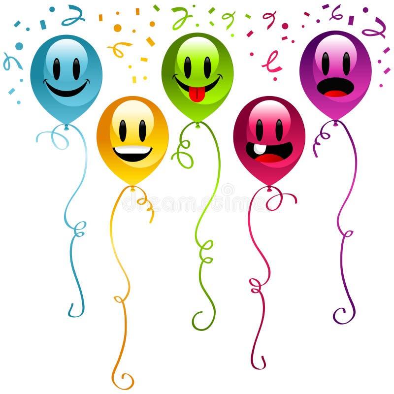 Ballons de réception de joyeux anniversaire illustration de vecteur