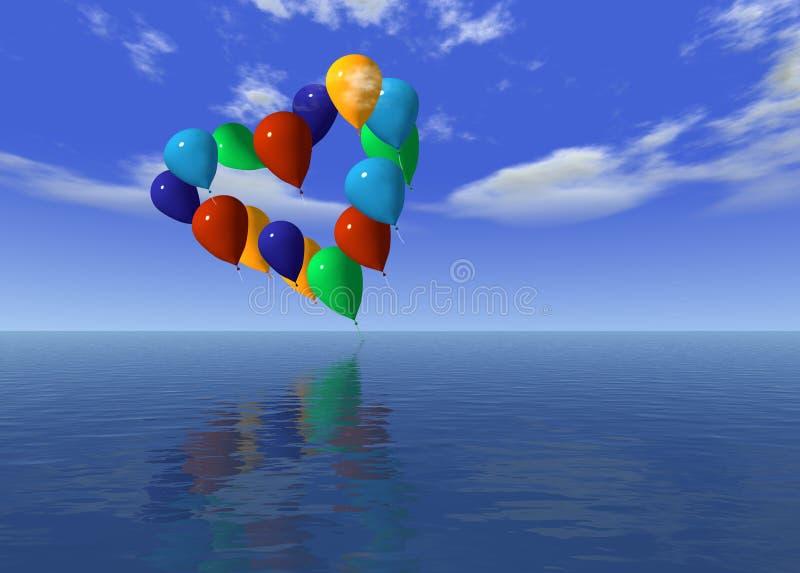Ballons do amor no ar ilustração do vetor