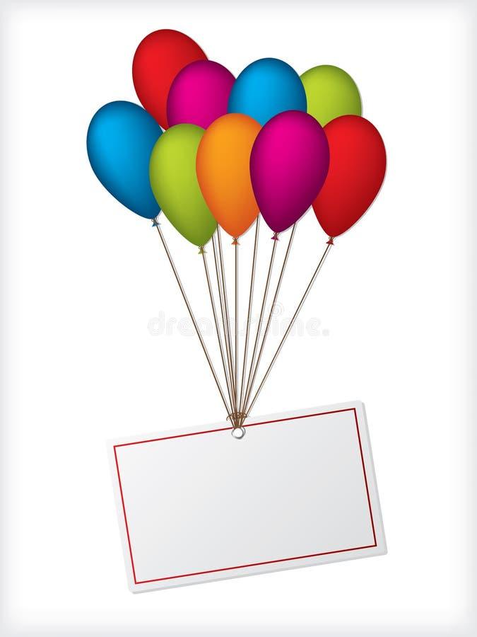 Ballons do aniversário com etiqueta branca editable ilustração royalty free