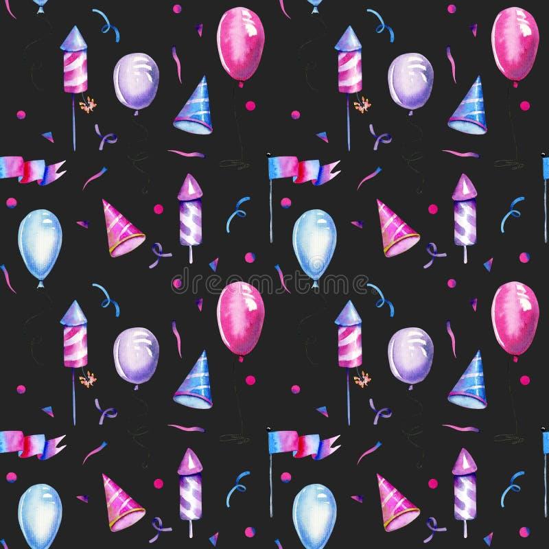 Ballons do ar da aquarela, fogos de artifício e o outro teste padrão sem emenda dos elementos festivos ilustração do vetor