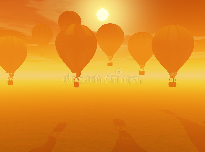 Ballons do ar quente ilustração royalty free