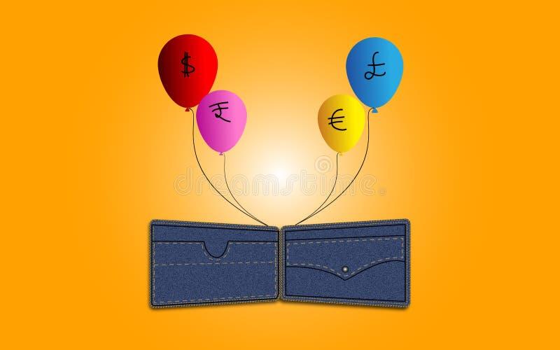 Ballons do dinheiro que voam afastado no ar do conceito da carteira da sarja de Nimes ilustração royalty free