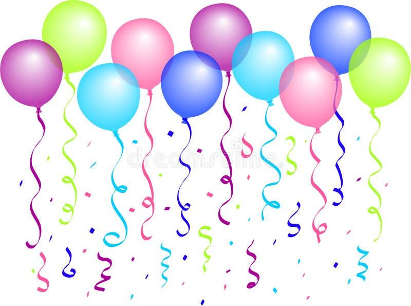 Ballons en Confettien/eps stock illustratie