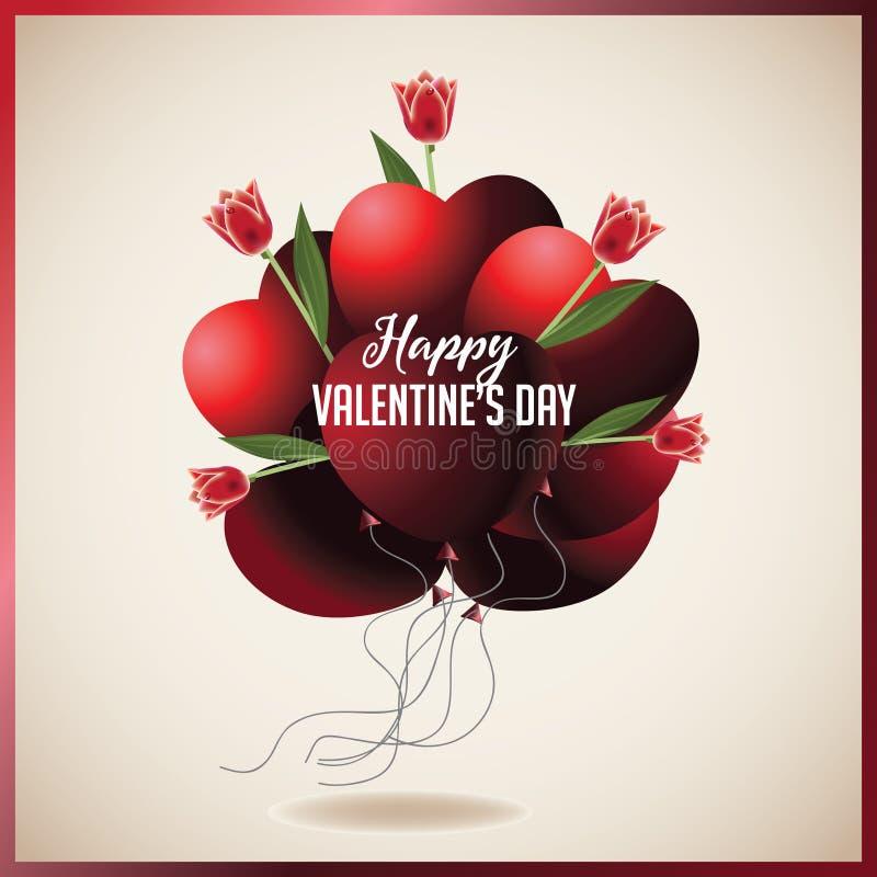 Ballons en forme de coeur de Saint-Valentin avec les tulipes rouges illustration stock
