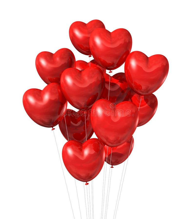 Ballons en forme de coeur rouges d'isolement sur le blanc illustration libre de droits