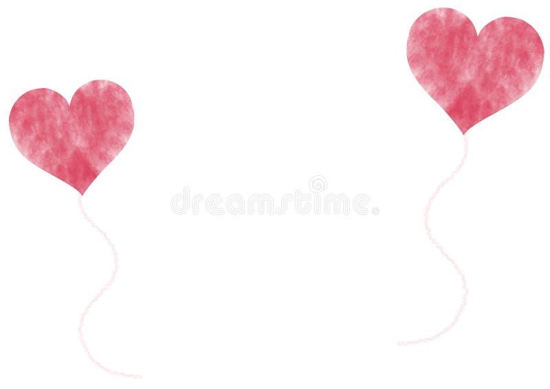 Ballons en forme de coeur rouges sur le fond blanc illustration de vecteur