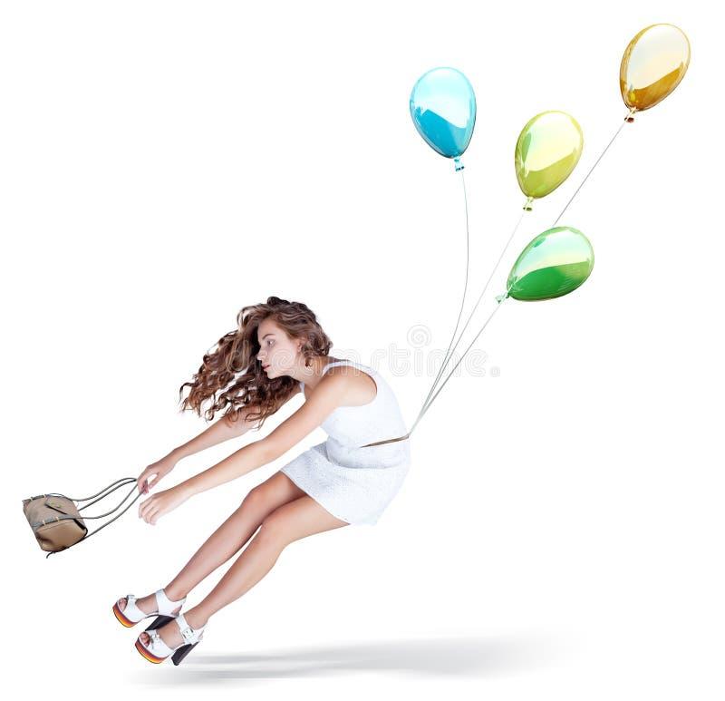 Ballons en mooi meisje stock foto