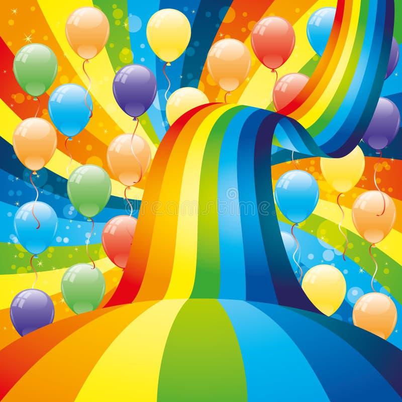 ballons en regenboog stock illustratie