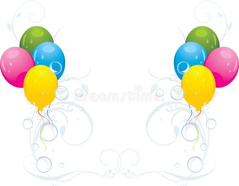 Ballons et bulles colorés. Composition de fête illustration stock