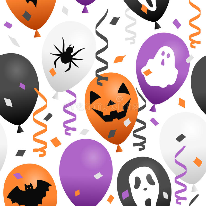 Ballons et confettis de Halloween sans couture illustration stock